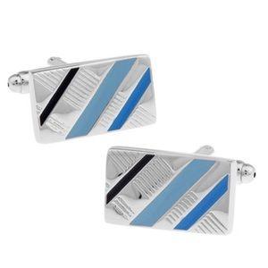 Classic Blue, Silver and Black Stripe Cufflinks